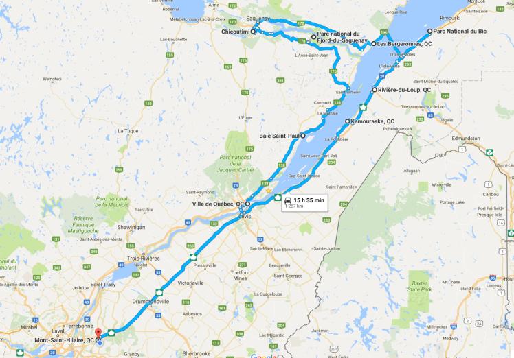 Itinéraire Quebec