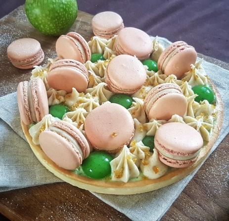 Tarte macarons pomme verte-sirop d'érable